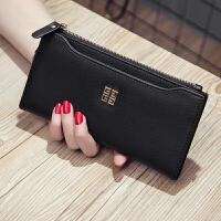 韩版女士皮钱包简约女式长款拉链钱夹牛皮多卡位皮夹潮 黑色