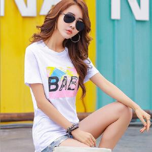 夏季t恤女短袖春夏新款韩国百搭圆领字母打底衫纯棉女t恤修身半袖WK0637