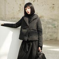 №【2019新款】冬天美女穿的 暗黑风韩版绑带短款女士羽绒服外套 黑色