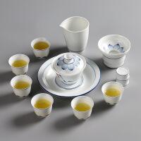 大山整套功夫茶具套装 荷花手绘双线套组12入 子母线三才盖碗 茶壶 品茗杯壶承