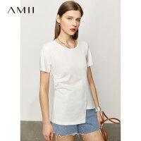 Amii极简设计感纯棉T恤女2021夏季新款宽松不规则收腰褶短袖上衣