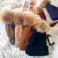 帽子女冬季保暖韩版针织毛线帽毛球百搭套头帽学生休闲护耳冷帽潮
