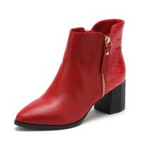【超品清仓】星期六ST&SAT牛皮尖头高跟拉链拼接女靴SS54112932