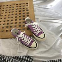 帆布鞋女春夏季2019新款韩版百搭平底休闲鞋平底学生板鞋紫色鞋潮夏季百搭鞋 紫色