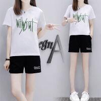 休闲套装女夏季韩版大码运动服宽松短袖短裤两件套跑步服女学生 S 建议75-90斤