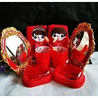 婚庆洗漱用品套装 结婚情侣 漱口杯婚庆牙刷杯牙缸红色牙刷 梅花五件套