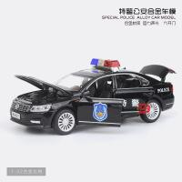 宝思仑 仿真大众帕萨特警车合金车模型 儿童声光回力六开玩具汽车