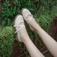 女鞋春夏季2019新款韩版百搭交叉带浅口单鞋子女粗跟中跟小皮鞋