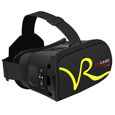 VR CASE VR虚拟现实3D眼镜触控式手机影院智能头戴式游戏头盔成人  黄色 下单可备注颜色或*发货