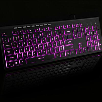 巧克力电脑键盘台式机 有线办公用家用游戏打字笔记本USB接口薄膜时尚办公 三色背光 办公商务 轻薄便携