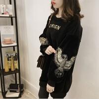大码女装200斤秋冬季加绒卫衣女中长款韩版宽松套头金丝绒上衣 黑色