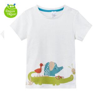【每满100减50】【加拿大童装】GagouTagou男童2017夏装短袖儿童T恤小童卡通上衣服宝宝体恤半袖