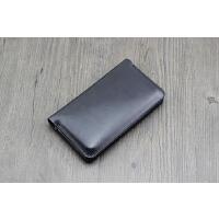 双手机套 xr保护套iphone 7 8PLUS双机皮套华为mate20包 大号 黑色 极简有卡位