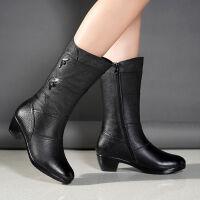 靴子女中筒靴女士皮靴中年中跟粗跟中靴妈妈棉鞋大码女靴秋冬女鞋 绒里