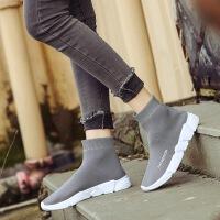 欧洲站2019新款秋季鞋女靴子高筒靴中长筒骑士靴毛线弹力连袜子靴