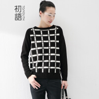 初语冬季新款黑白撞色格子羊毛保暖显瘦套头毛衣女8530423922