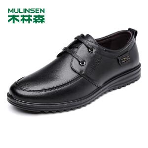 木林森男士皮鞋 2018新款皮鞋男头层牛皮休闲鞋柔软舒适商务鞋