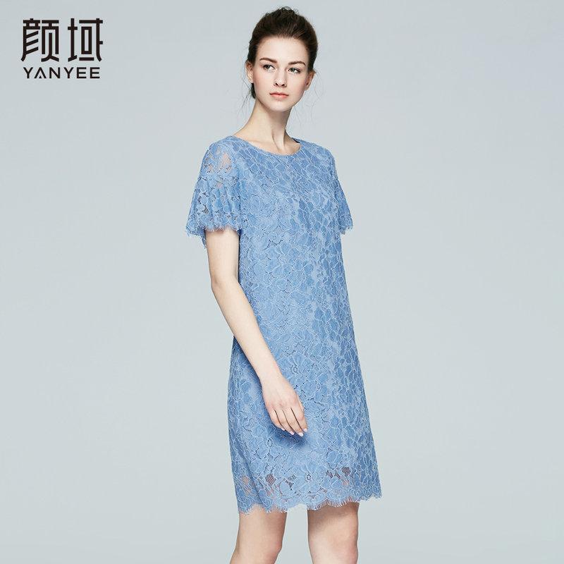 颜域品牌女装2017夏季新款欧美优雅荷叶袖修身显瘦蕾丝连衣裙女凸纹蕾丝设计 朦胧美感