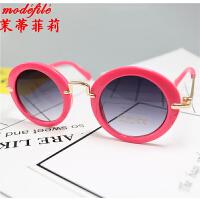 茉蒂菲莉 儿童太阳镜 2017新款男女童墨镜纯色圆框金属蛤蟆镜遮阳镜宝宝公主镜眼镜