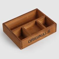 复古木制桌面空调遥控器收纳盒长方形木盒子五格杂物储物盒首饰盒