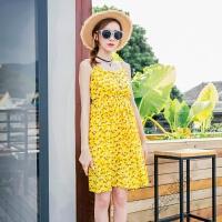 夏季度假沙滩裙吊带露肩短裙波西米亚连衣裙纽扣碎花裙子 黄色