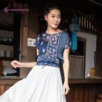 生活在蓝印花布系列夏季新款圆领印花短袖衬衣气质休闲百搭上衣女