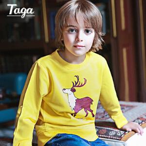 TAGA童装男童长袖T恤卫衣儿童 春秋款 新款卡通印花圆领套头衫【清仓款】