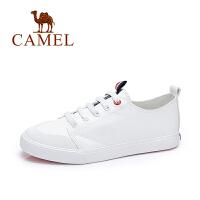 Camel/骆驼女鞋 2017秋季新款 韩版复古平底休闲鞋系带学院小白鞋