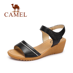 camel骆驼 新款夏季 休闲舒适坡跟凉鞋女简约水钻真皮女鞋