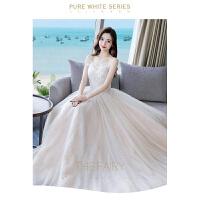 婚纱礼服新娘2018新款抹胸公主梦幻森系吊带抖音同款一字肩孕妇