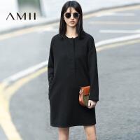 【AMII 超级品牌日】AMII冬女新纯色几何贴布抓绒厚宽松连衣裙11683972
