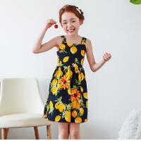 春夏新品韩版童装吊带女童连衣裙儿童印花背心裙