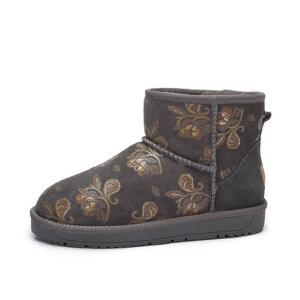 camel 骆驼女鞋  秋冬新品 舒适保暖平跟靴子 时尚印花加绒厚雪地靴