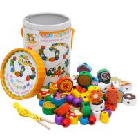 木制70粒大颗粒蛋糕串珠婴幼儿益智穿绳串串乐儿童早教启蒙玩具新