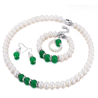 珠宝 9-10mm 玛瑙珍珠项链套装 送妈妈