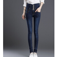 高腰韩版修身弹力牛仔裤女 大码收腹小脚裤 新款紧身铅笔裤