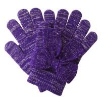 触屏手套 女士冬季蝴蝶结银丝毛线触控手套
