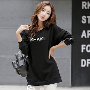 卡茗语2017秋冬新款韩版宽松加绒保暖长袖女卫衣中长款纯棉蝙蝠袖上衣