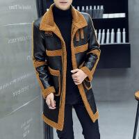 秋冬季青年皮衣男中长款休闲修身加厚帅气风衣发型师外套男大衣潮
