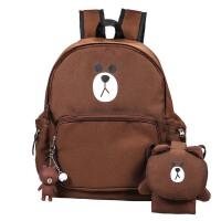 牛津布双肩包秋冬新款韩版印花超萌三件套学生书包旅行包