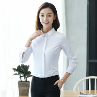 韩版白衬衫女春秋装棉OL职业工装工作服长袖修身学院范2018新品 白色
