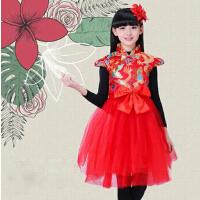 新款儿童中国风旗袍纱裙主持人表演服女童舞蹈演出服装喜庆冬季