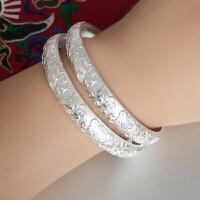 女开口足银饰品 祝吉祥如意纯银镯子送女友妈妈礼物