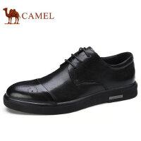 camel 骆驼男鞋 秋季新品商务休闲牛皮皮鞋男士尖头雕花皮鞋