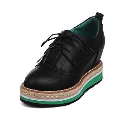 ELEISE美国艾蕾莎春季上新003-V122韩版松糕底女士单鞋