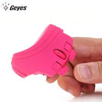 Geyes精亚迷你便携个性创意无线指环鼠标玫红色 懒人充电2.4G鼠标