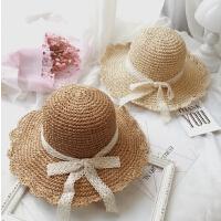 夏天草帽手工勾针女大沿帽折叠沙滩帽蕾丝蝴蝶结遮阳帽太阳帽