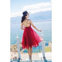 新品红色连衣裙2018女夏新品吊带雪纺露背海边度假沙滩裙长裙礼服裙性感潮流