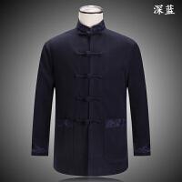 中老年唐装秋冬男夹克中式加厚复古立领盘扣外套民族风爸爸装上衣
