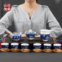 家用客厅茶壶泡茶器创意功夫6人青花茶具整套装茶杯子6只装